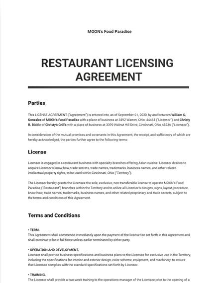 Restaurant Licensing Agreement Template
