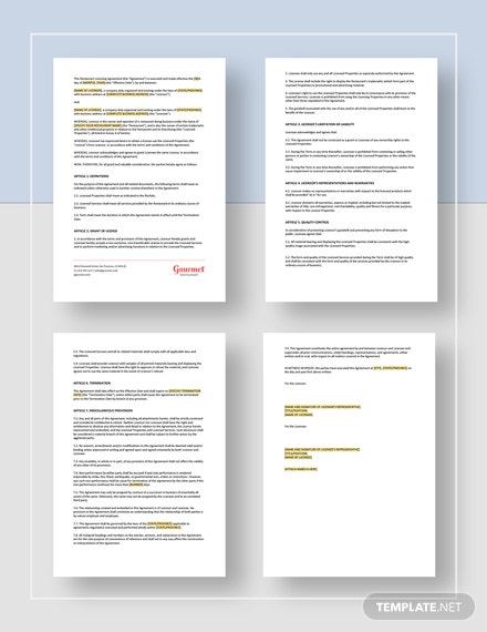 Restaurant Licensing Agreement Template Word Google Docs