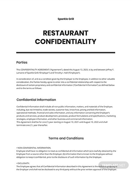 Restaurant Confidentiality Agreement Template
