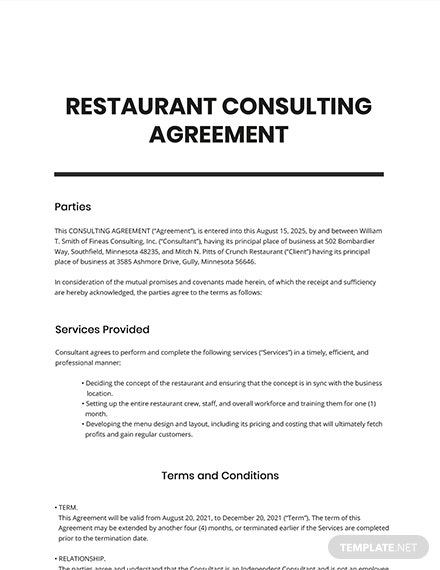 Restaurant Consulting Agreement Template