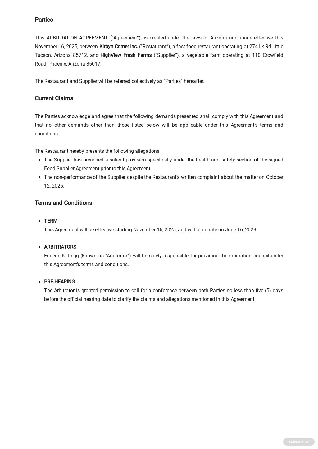 Arbitration Agreement for Restaurant Template 1.jpe