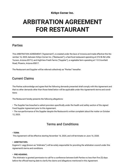 Arbitration Agreement for Restaurant Template