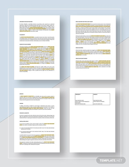 Restaurant Private Party Contract Download