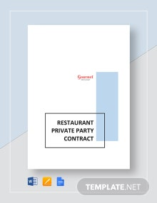 Restaurant Private Party Contract Template
