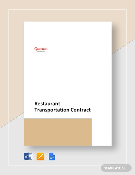 Restaurant Transportation Contract Template