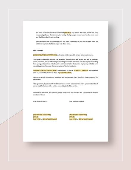 Restaurant Event Contract Download