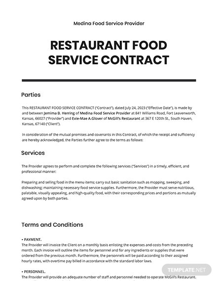 Restaurant Food Service Contract Template