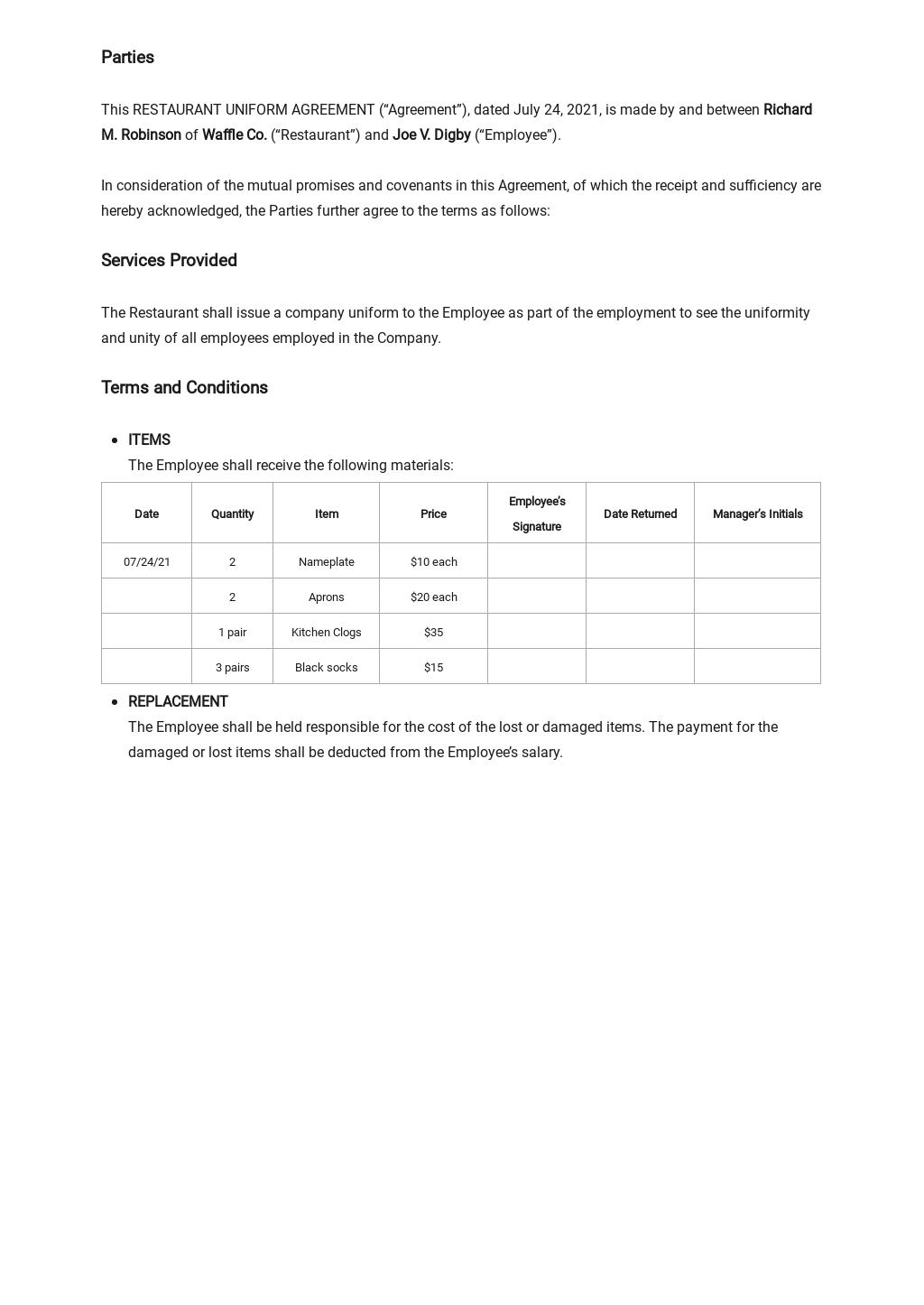 Restaurant Uniform Agreement Template 1.jpe