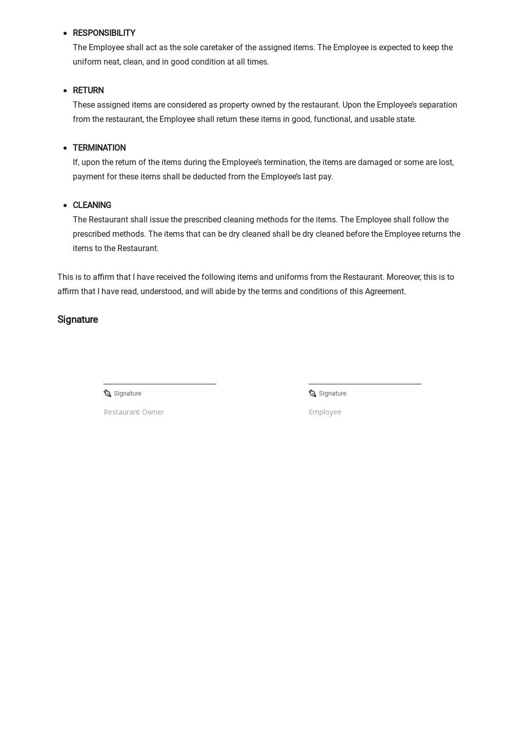 Restaurant Uniform Agreement Template 2.jpe