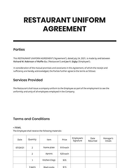 Restaurant Uniform Agreement Template