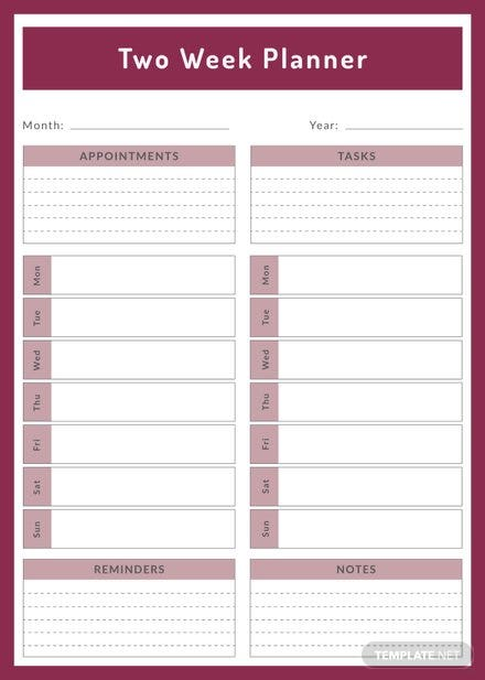 Free Two Week Planner Template