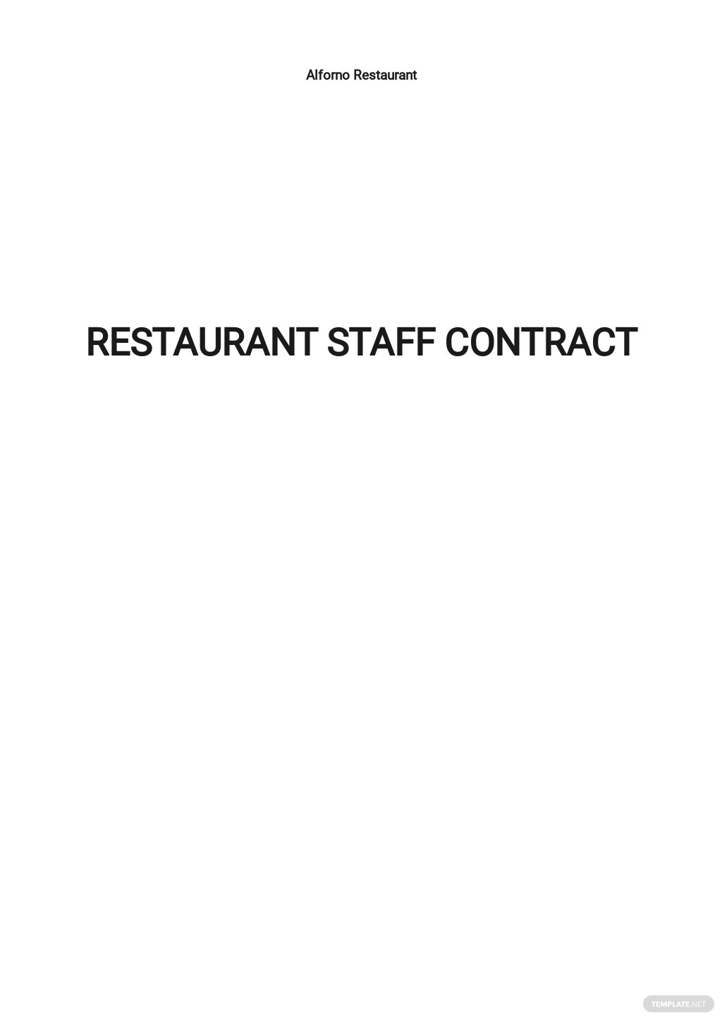 Restaurant Staff Contract Template