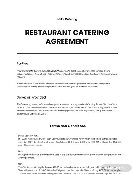 Restaurant Catering Agreement