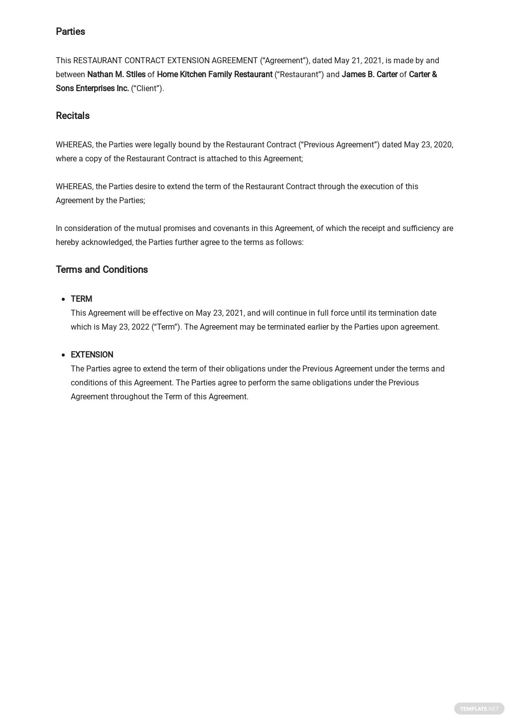 Restaurant Contract Extension Agreement Template 1.jpe