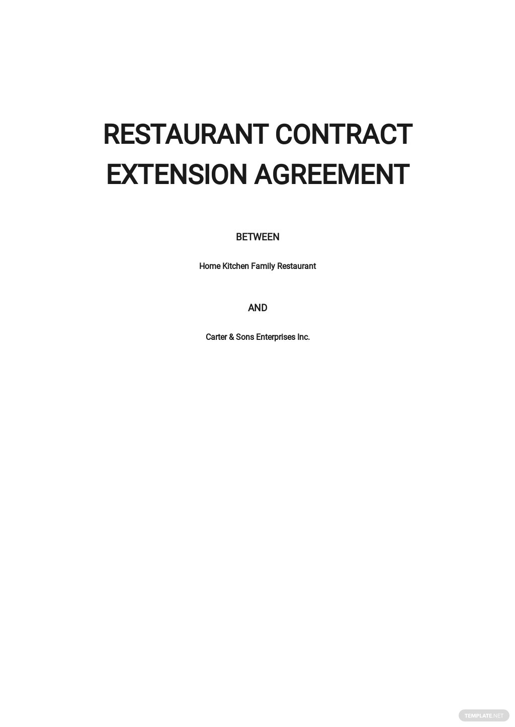 Restaurant Contract Extension Agreement Template