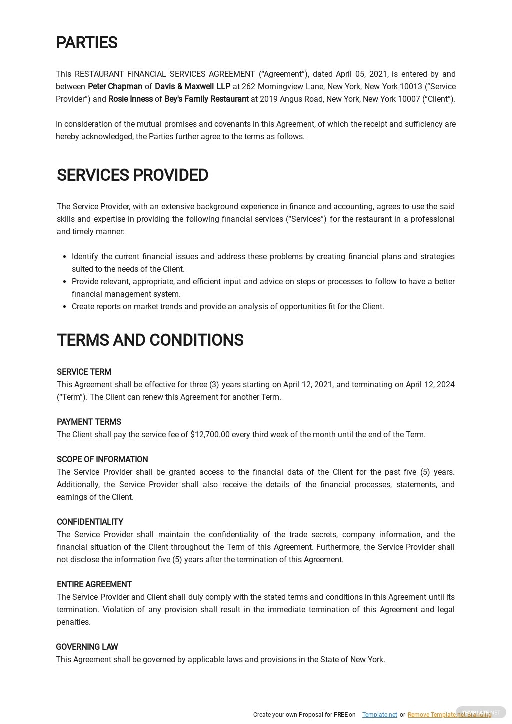 Restaurant Financial Services Agreement Template [Free PDF] - Google Docs, Word, Apple Pages, PDF