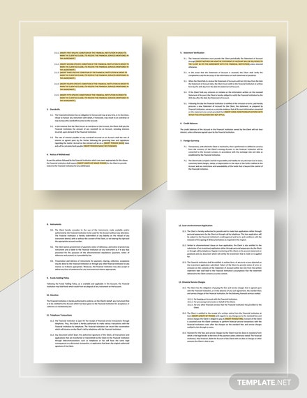 Restaurant Financial Services Agreement Template Word