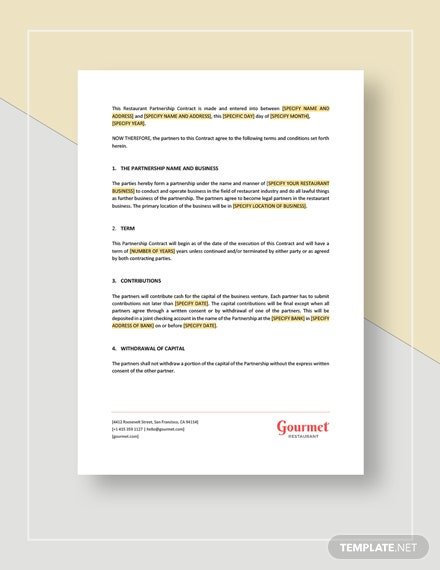 Restaurant Partnership Contract Template