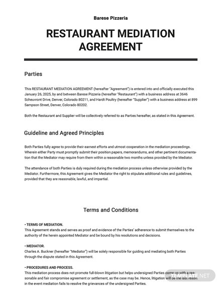 Restaurant Mediation Agreement Template