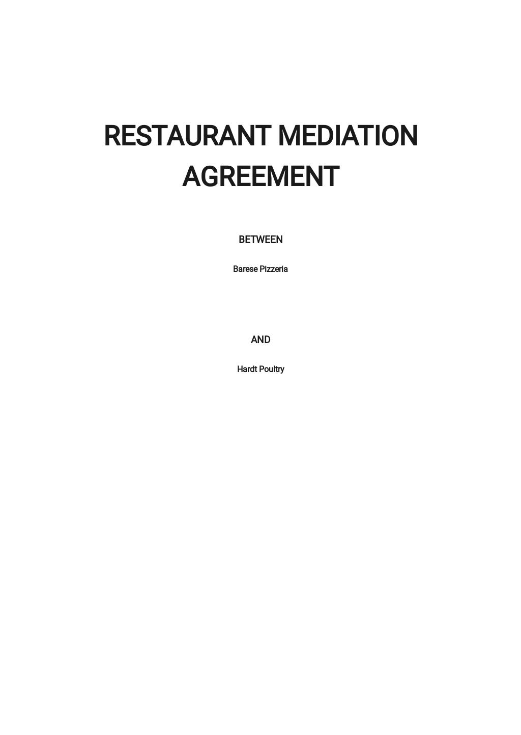 Restaurant Mediation Agreement Template
