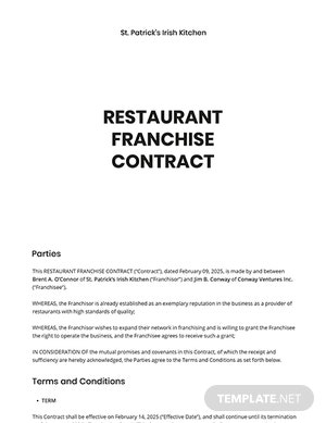 Food Business Contract