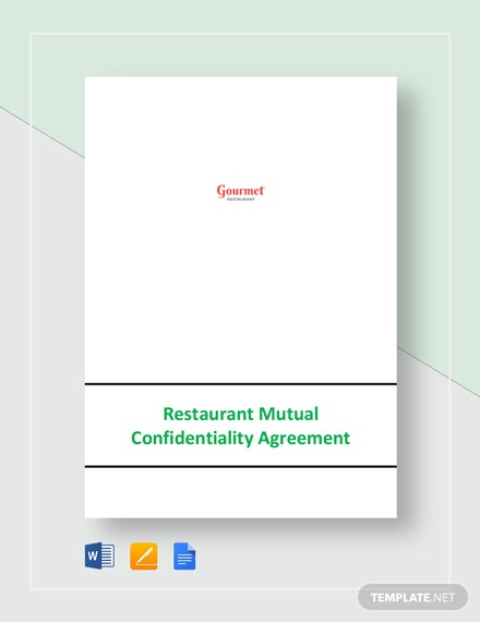 Restaurant Mutual Confidentiality Agreement Template