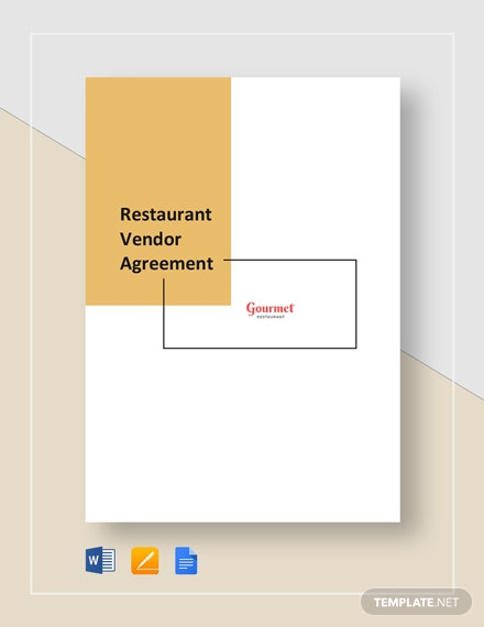 Restaurant Vendor Agreement Template