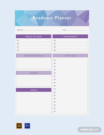 Free Academic Planner Template