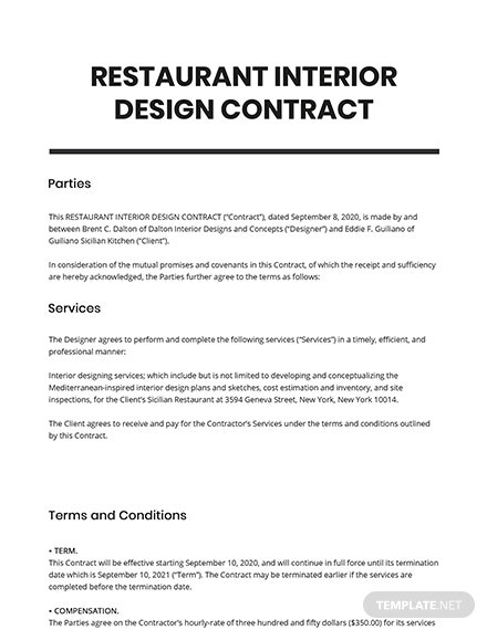 Restaurant Interior Design Contract Template