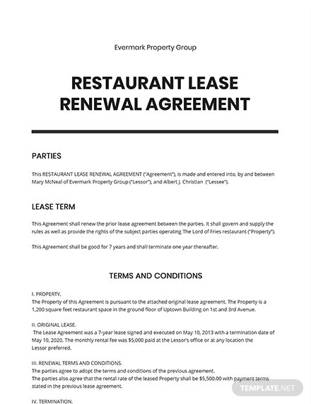 Restaurant Lease Renewal Agreement Template