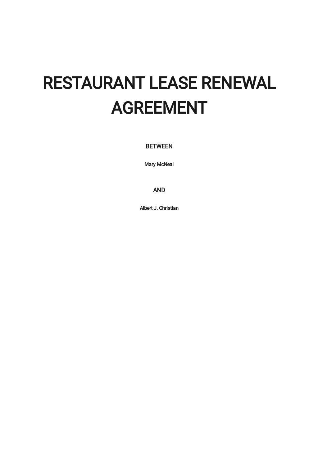 Restaurant Lease Renewal Agreement Template