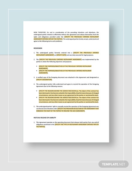 Restaurant Mutual Rescission of Contract and Release