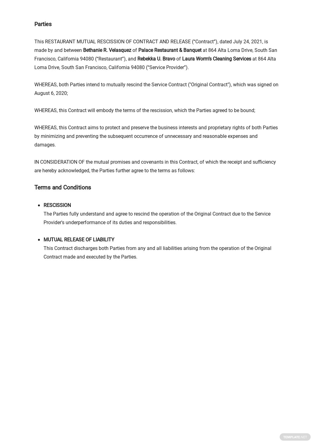 Restaurant Mutual Rescission of Contract and Release Template 1.jpe