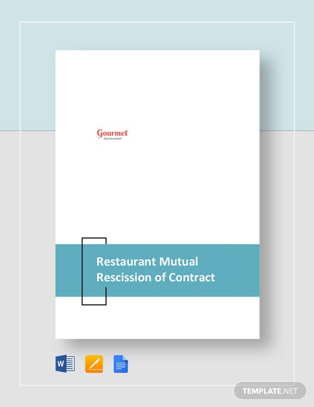 Restaurant Mutual Rescission of Contract and Release Template