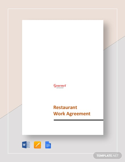 Restaurant Work Agreement Template