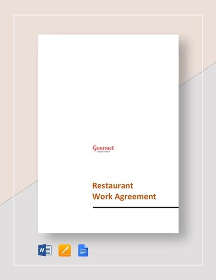 Restaurant Work Agreement Template