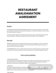 Restaurant Amalgamation Agreement Template