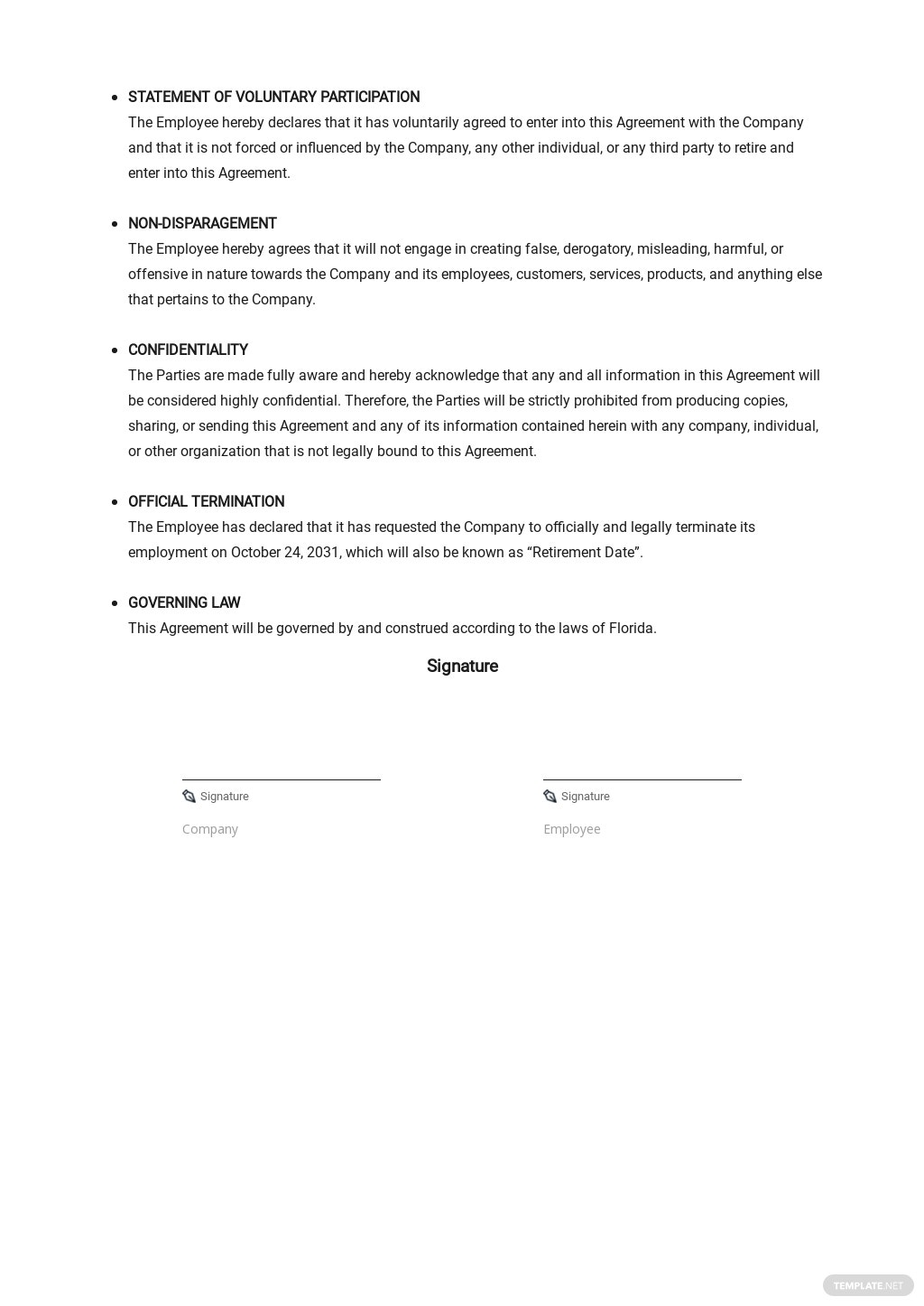 Restaurant Employee Retirement Agreement Template [Free PDF] - Google Docs, Word, Apple Pages
