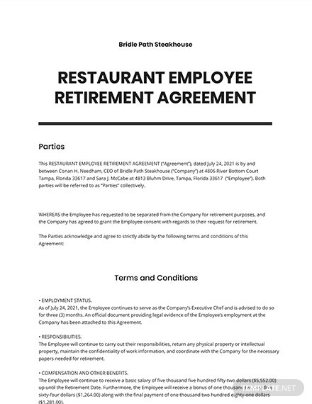 Restaurant Employee Retirement Agreement Template