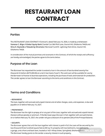 Restaurant Loan Contract Template