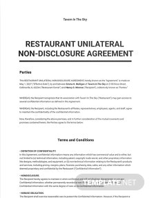 Restaurant Unilateral Nondisclosure Agreement Template