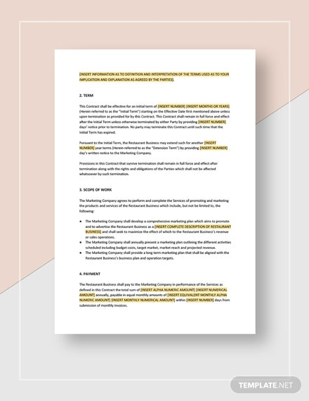Restaurant Marketing Contract Download