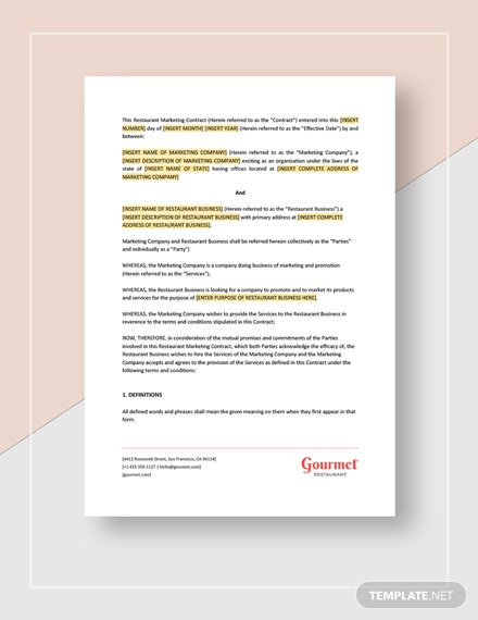 Restaurant Marketing Contract Template