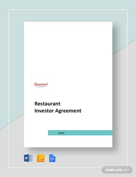 Restaurant Investor Agreement Template