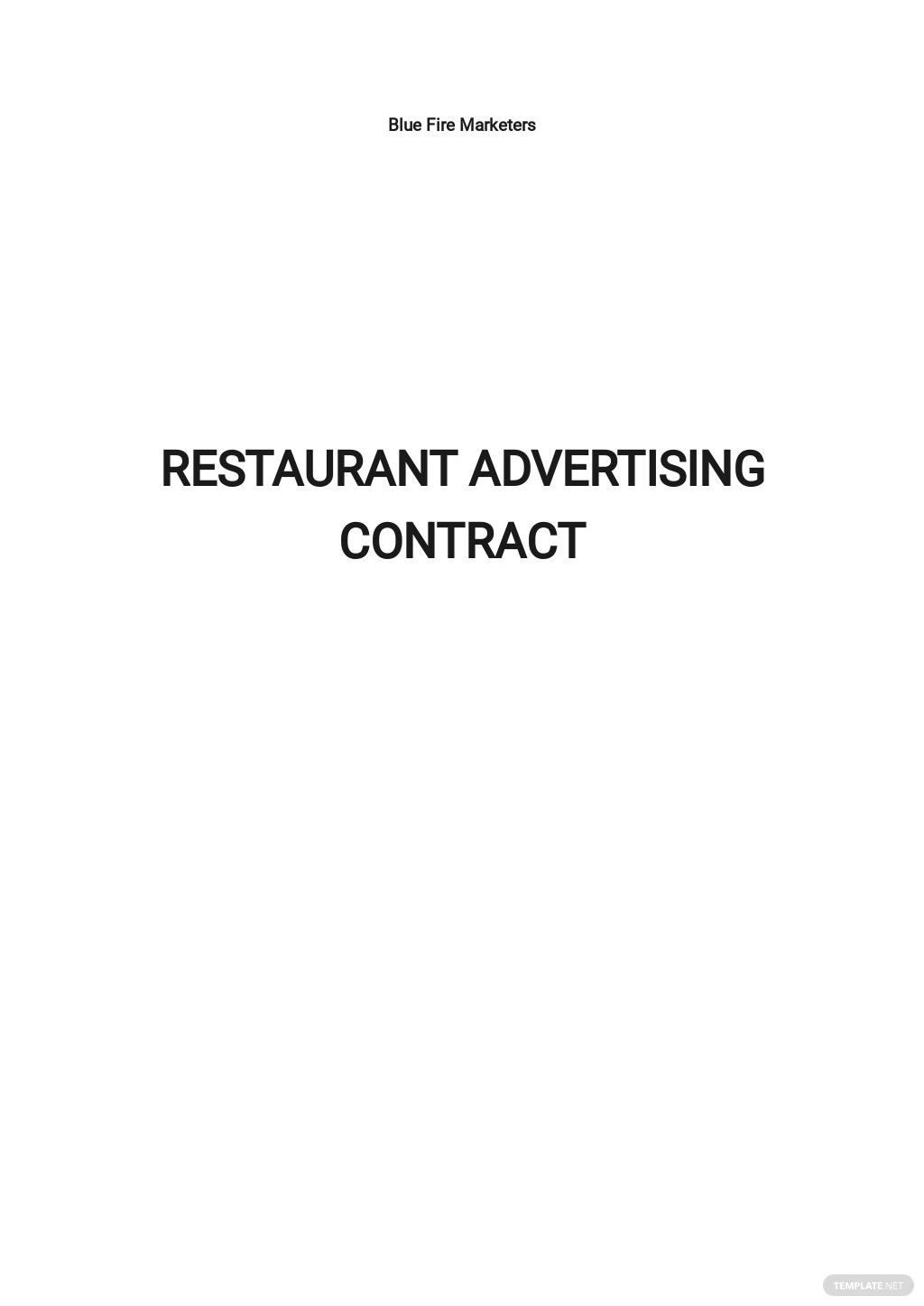 Restaurant Advertising Contract Template