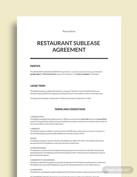 Restaurant Sublease Agreement Template