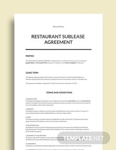 Restaurant Sublease Agreement Template