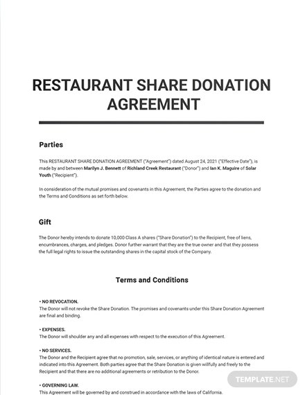 Restaurant Share Donation Agreement Template