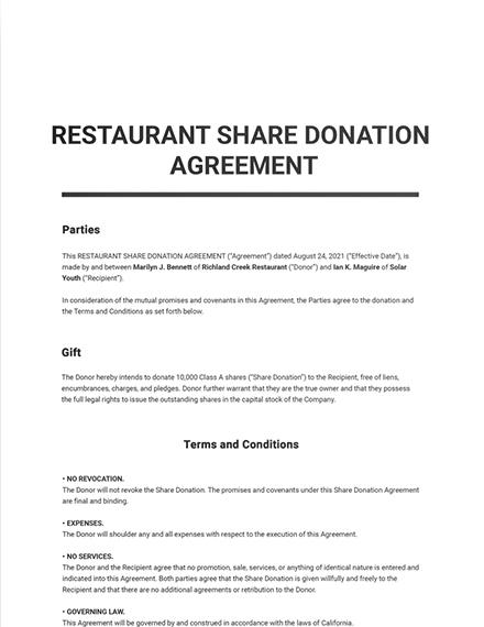 Restaurant Share Donation Agreement Template