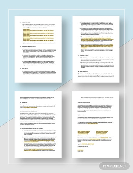 Sample Restaurant Consignment Contract